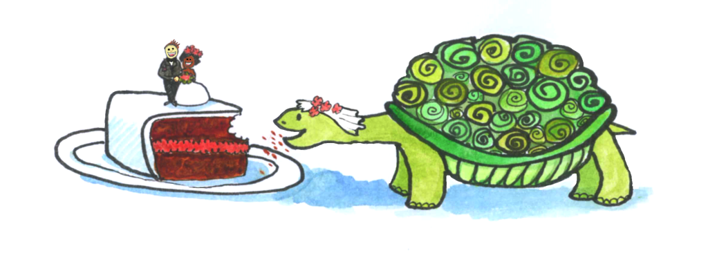 Tortoise/bride eating wedding cake in an unladylike manner... For the menu.