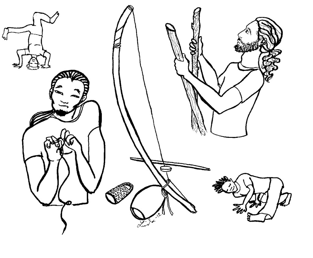 A selection of capoeira drawings: commemorating our first berimbau (instrument) building workshop, and some typical moves.