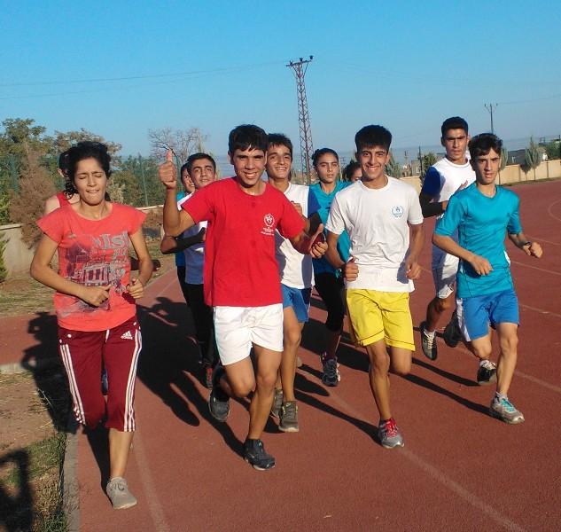 Young people making good use of the municipal stadium in Diyarbakir