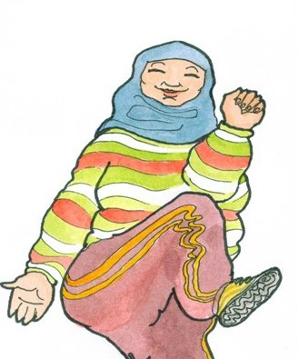 """My brief was """"women in scarves doing elbow to knee aerobics"""""""