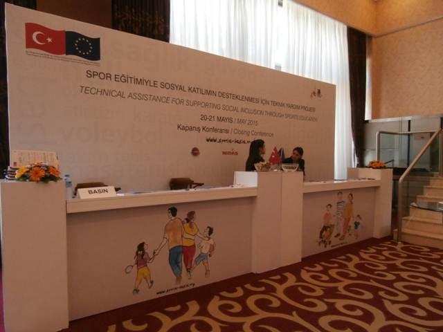 Conference registration stand