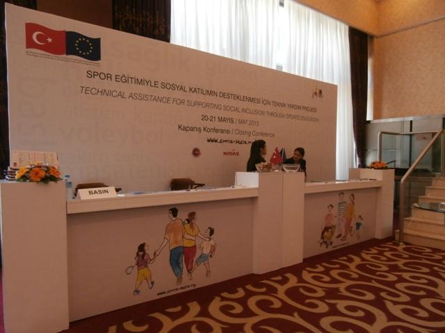 Conference registration stand