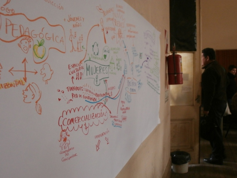 Drawn during the 'sharing in plenary' stage of the workshop.
