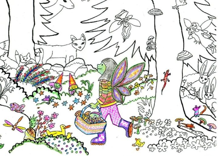 Partly coloured forest walk drawing