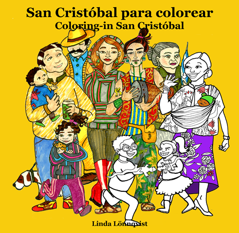 "Picturesque people drawn on the cover of the Colouring-in book ""San Cristobal"", Mexico #SancrisEnColores"