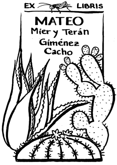 Ex libris design with Mexican plants