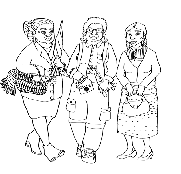 "Colouring-in image of three ladies, ""San Cristobal"", Mexico #SancrisEnColores"