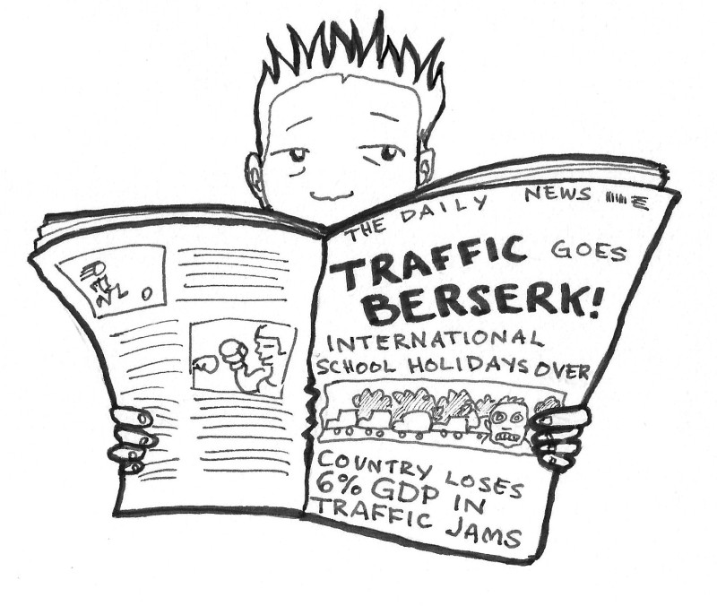 "A cartoon of an expat reading the paper ""Traffic goes Berserk!"""