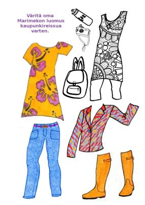 A paper doll featuring Marimekko designs.