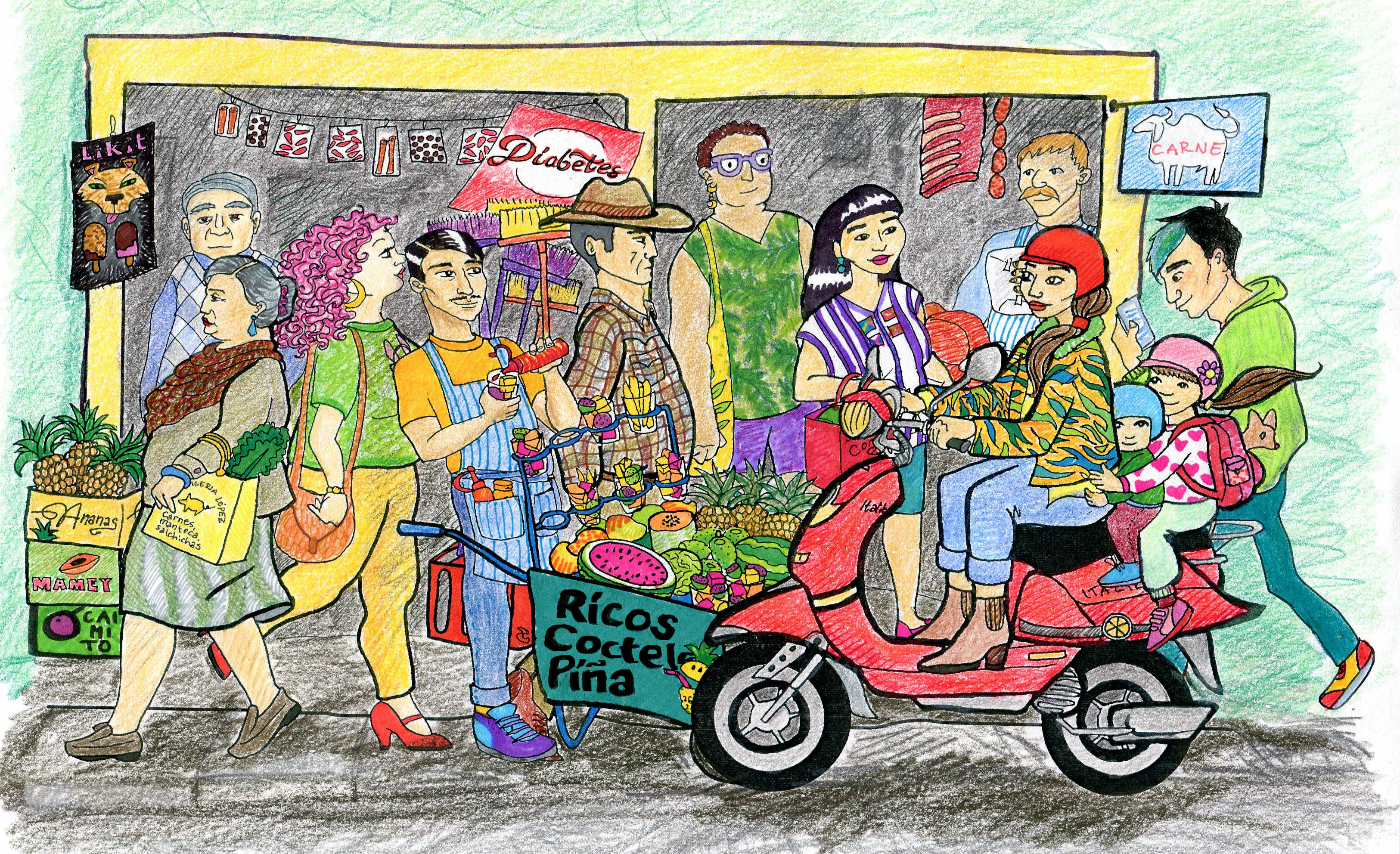 #SancrisEnColores, Mexico, street food, fruit, illustration