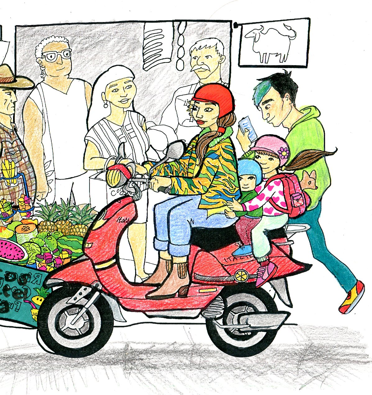 "Colouring in picture of a woman riding a vespa in ""San Cristobal""."